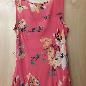 Pink Floral Boho Asymetrical Dress S 6